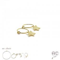 Boucles d'oreilles créoles avec pendent étoile en plaqué or et choix des différentes attaches, femme, tendance