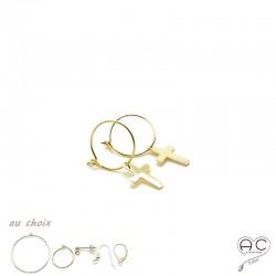 Boucles d'oreilles mini créoles avec pendent croix en plaqué or et choix des différentes attaches, femme, tendance