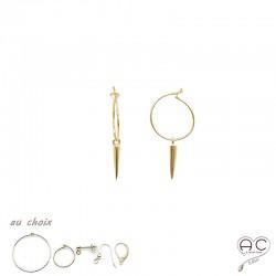 Boucles d'oreilles SPIKE avec petites pointes en plaqué or et choix des différentes attaches, pendantes, rock-chic, création