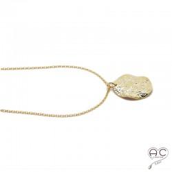 Médaille ronde martelée et gondolée en plaqué or, tendance, femme bohème chic, gipsy