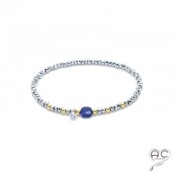 Bracelet lapis lazuli et hématite, pierre naturelle, plaqué or et petit brillant en cristal, gipsy, bohème, création by Alicia
