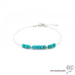 Bracelet turquoise reconstituée sur une chaîne en argent 925 rhodié, création by Alicia