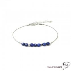 Bracelet fin avec lapis-lazuli, pierre naturelle sur une chaîne en argent 925 rhodié, création by Alicia