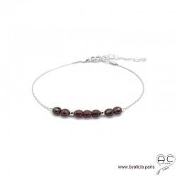 Bracelet fin avec grenat, pierre naturelle sur une chaîne en argent 925 rhodié, création by Alicia