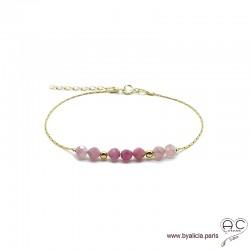 Bracelet fin avec tourmaline rose, pierre naturelle sure une chaîne en plaqué or, création by Alicia