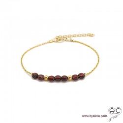 Bracelet fin avec grenat, pierre naturelle sur une chaîne en plaqué or, création by Alicia
