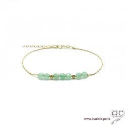 Bracelet fin avec aventurine sur une chaîne en plaqué or, pierre naturelle, création by Alicia