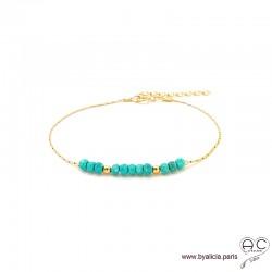 Bracelet fin avec turquoise reconstituée sur une chaîne en plaqué or, création by Alicia
