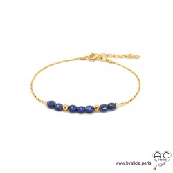 Bracelet fin avec lapis-lazuli, pierre naturelle sur une chaîne en plaqué or, fait main, création by Alicia