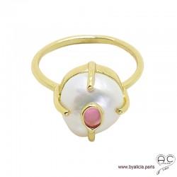 Bague avec perle de culture d'eau douce blanche et tourmaline rose en argent doré à l'or fin 18K , unique