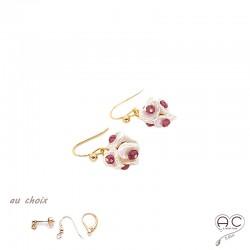 Boucles d'oreilles avec perles naturelles Keshi en forme de pétales et rhodolite, plaqué or, fait main, création by Alicia