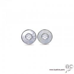 Boucles d'oreilles, nacre sertie des zircons brillants en argent 925 rhodié, puce ronde, clous, femme