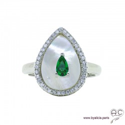 Bague goutte en nacre blanche sertie d'un zircon vert et entourée de zircons brillants, argent 925 rhodié, femme