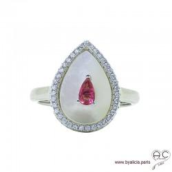 Bague goutte en nacre blanche sertie d'un zircon rose et entourée de zircons brillants, argent 925 rhodié, femme