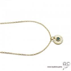 Médaille petit soleil serti d'une agate verte en plaqué or, tendance, bohème