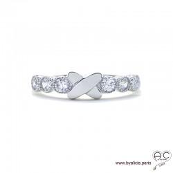 Bague croisillon sur anneau fin sertie de zirconium brillant en argent 925 rhodié, alliance, empilable, femme