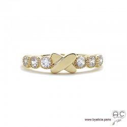 Bague croisillon sur anneau fin sertie de zirconium brillant en plaqué or, alliance, empilable, femme