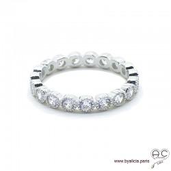 Bague alliance, anneau fin sertie de zirconium brillant tour complet en argent 925 rhodié, empilable, femme