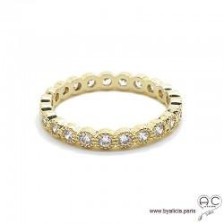Bague alliance, anneau fin sertie de zirconium brillant tour complet en plaqué or, empilable, femme