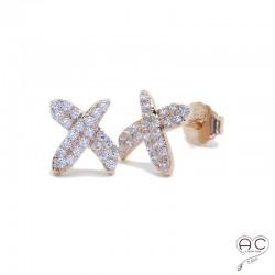 Boucles d'oreilles puce, croisées sertie de zirconium brillant en plaqué or rosé, clous, petites, femme