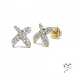 Boucles d'oreilles puce, croisées sertie de zirconium brillant en plaqué or, clous, petites, femme