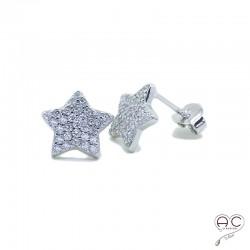Boucles d'oreilles étoiles serties de zirconium brillant en argent 925 rhodié, puce, clous, femme