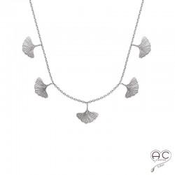 Collier avec pampilles feuilles de GINKGO en argent 925 rhodié, ras du cou, femme