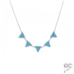Collier avec pampilles triangles sertis de turquoise nano, argent 925 rhodié, ras de cou, femme