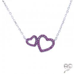 Collier avec deux cœurs entrelacés serties de zirconium fuchsia, argent 925 rhodié, femme