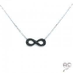 Collier l'infini serti de zirconium noir en argent 925 rhodié, ras du cou, femme