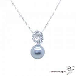 Collier avec perle nacrée grise et zirconium brillant en argent 925 rhodié, ras de cou, femme