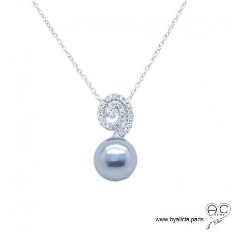 collier perle zirconium