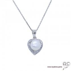Collier cœur avec perle d'eau douce blanche et zirconium brillant en argent 925 rhodié, ras de cou, femme