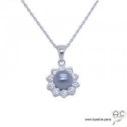 Collier avec perle nacrée grise entouré de zirconiums brillants, argent 925 rhodié, ras de cou, femme