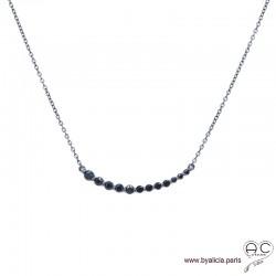 Collier avec l'arc serti de zirconium noir en argent 925 rhodié noir, ras de cou, femme