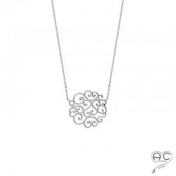 Collier avec médaille ronde en arabesque, dentelle, argent 925 rhodié, ras de cou, femme