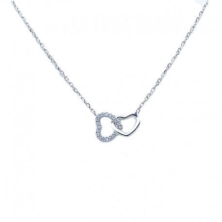 Collier avec deux cœurs entrelacés serties de zirconium brillant, argent 925 rhodié, femme