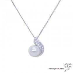 Collier avec perle nacrée blanche et zirconium brillant en argent 925 rhodié, ras de cou, femme