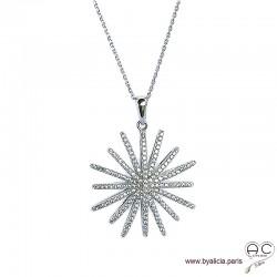 Collier pendentif étoile sertie de zirconium brillant en argent 925 rhodié, joaillerie, femme