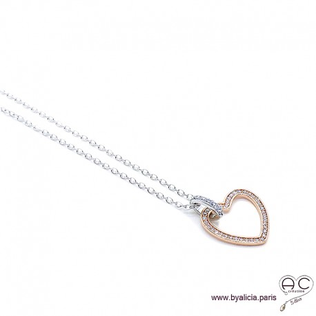 Collier avec coeur serti de zirconium brillant en argent 925 rhodié rosé, ras de cou, femme