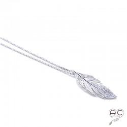 Collier pendentif plume en argent 925 rhodié, ras du cou, femme