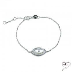 Bracelet avec oeil en nacre et zirconium brillant en argent 925 rhodié, femme
