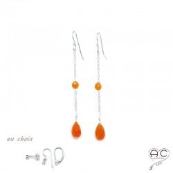 Boucles d'oreilles pierre naturelle cornaline goutte sur une chaîne en argent rhodié, longues, pendantes, création by Alicia