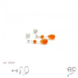 Boucles d'oreilles pierre naturelle cornaline goutte en argent 925, courtes, pendantes, création by Alicia