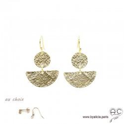 Boucles d'oreilles LUNNA pendantes, double avec demi-lune et médaille en plaqué or martelé, tendance, femme