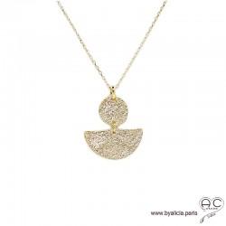 Collier pendentif LUNNA double avec demi-lune et médaille en plaqué or martelé, tendance, femme