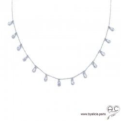 Collier avec pampilles petites gouttes en zirconiums brillantes, argent 925 rhodié, ras de cou, femme