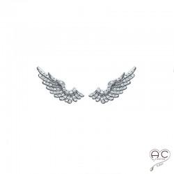 Boucles d'oreilles barrettes contours d'oreilles les ailes serties de zirconium brillant en argent 925 rhodié, femme