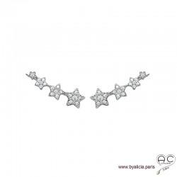 Boucles d'oreilles barrettes contours d'oreilles les étoiles serties de zirconium brillant en argent 925 rhodié, femme
