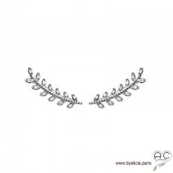 Boucles d'oreilles les barrettes contours d'oreilles feuilles de laurier sertis de zirconium brillant, argent 925 rhodié, femme